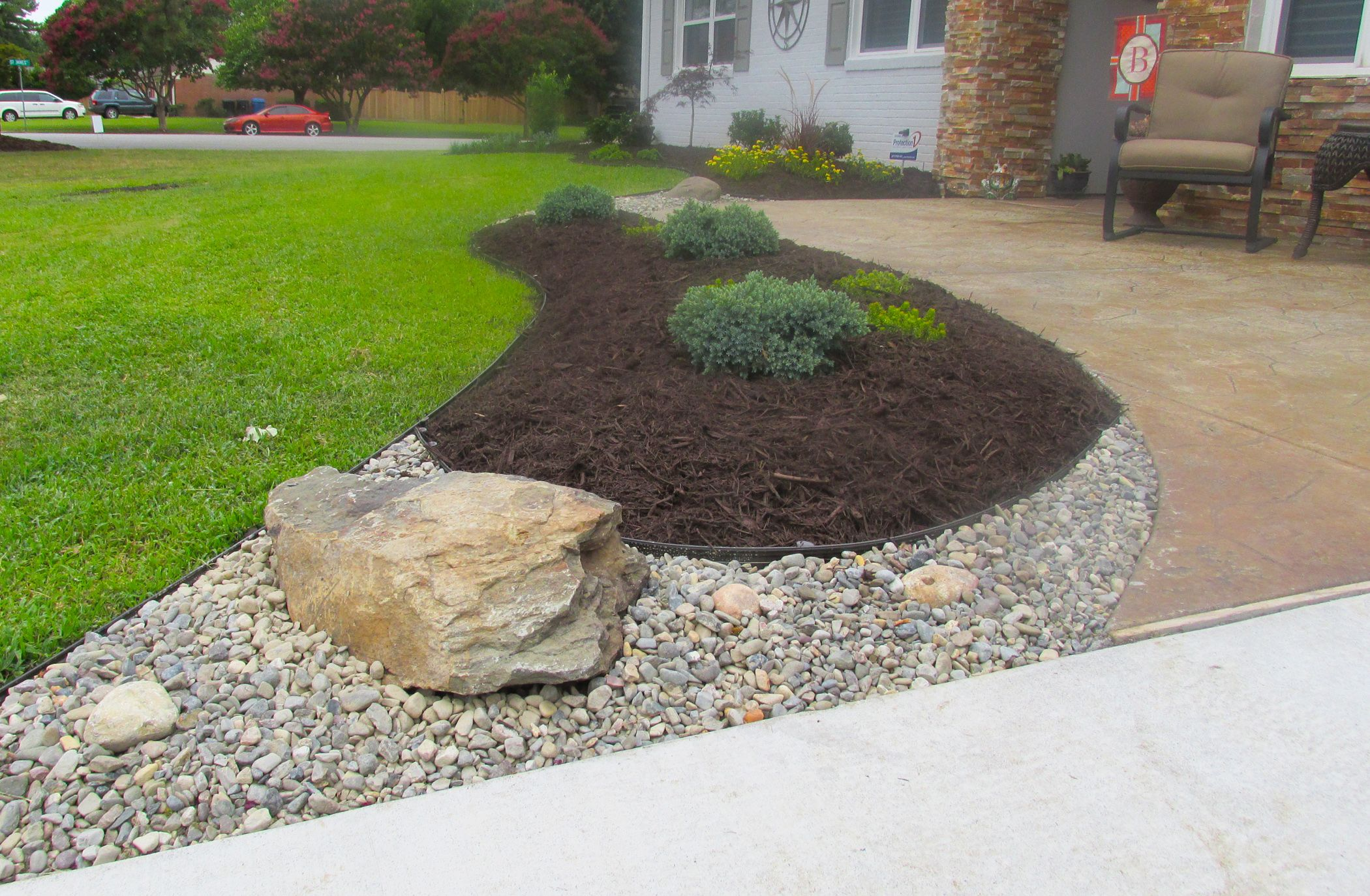 Rock and mulch landscape ideas va beach rock and stone for Rock landscaping ideas backyard