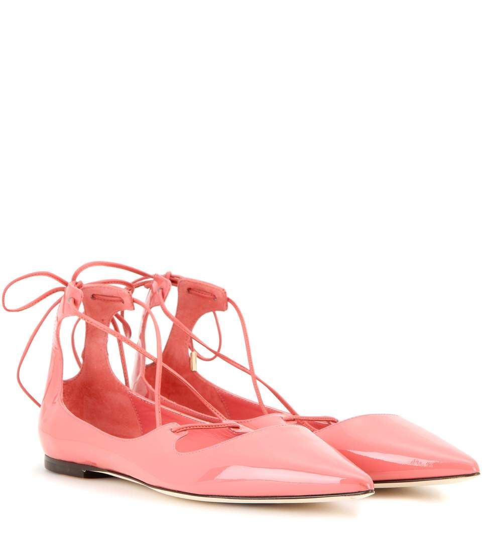 ec0080a1a93 Jimmy Choo - Vita patent leather lace-up ballerinas - designed with endless  understated appeal in a shiny patent upper in a playful shade of pink.