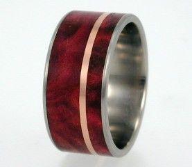 Mens Waterproof Wood Ring Rose Gold Pinstripe Redwood Wedding Band