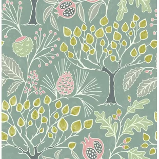 Tree Wallpaper Woodland Wallpaper Green Floral Wallpaper Botanical Wallpaper