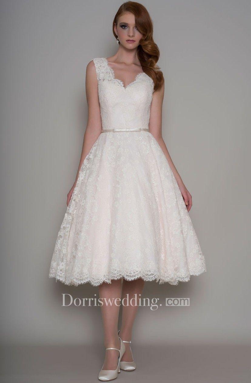 1deea827b8a8 Tea-Length A-Line Appliqued V-Neck Sleeveless Lace Wedding Dress - Dorris  Wedding
