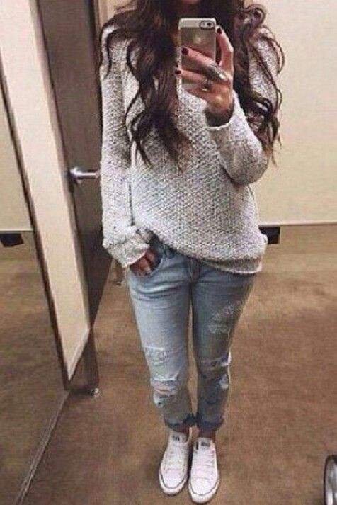 Oversized Sweater Ripped Jeans White Converse Lazy Day Cute