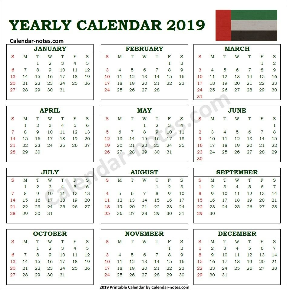 Calendar 2019 Uae With Holidays Print Calendar Calendar Printables Calendar 2019 With Holidays