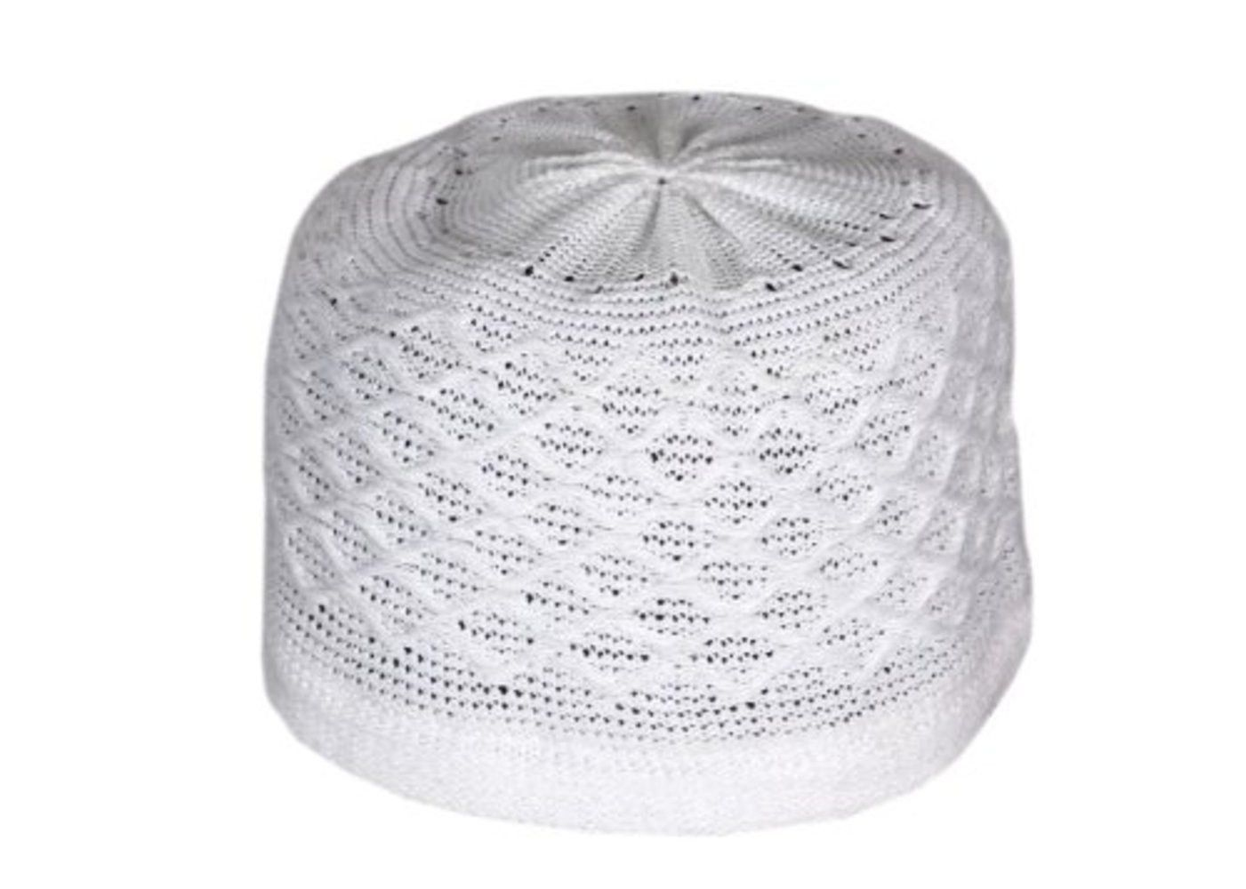 Muslim Prayer Cap Kufi Topi Soft Threads & Block Shaped (Pure White)