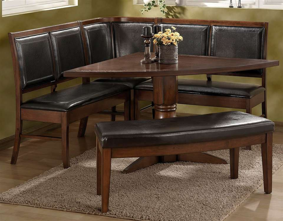 Corner Nook Dinette Set In Rich Dark Walnut Finish