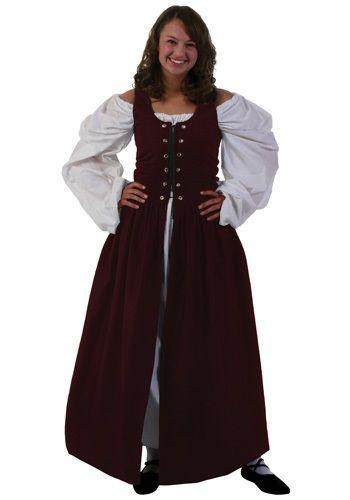 Plus Size Burgundy Irish Renaissance Dress  d7b852b75cf5