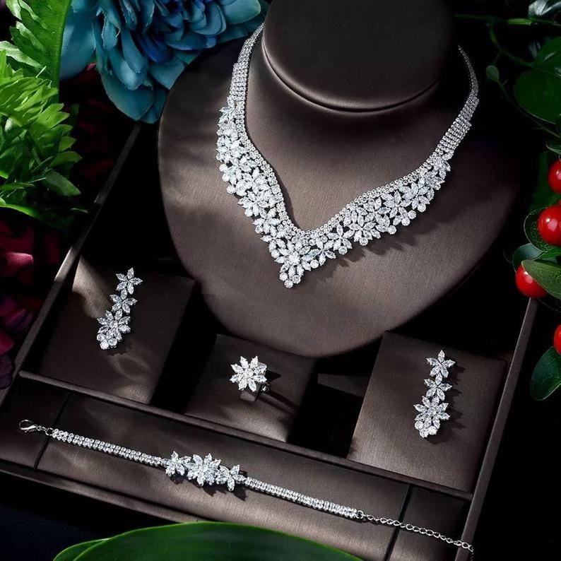 Crystal Bridal Necklace Earring Ring Bracelet Set Brides Accessories Wedding Jewellery Set Silver Bridal Bracelet Set Womens Jewelry Set Wedding Jewelry Sets Crystal Accessories Zircon Jewelry