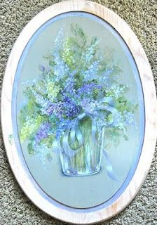 Decorative painting and painting with Ros Stallcup.  These are her Lilacs.
