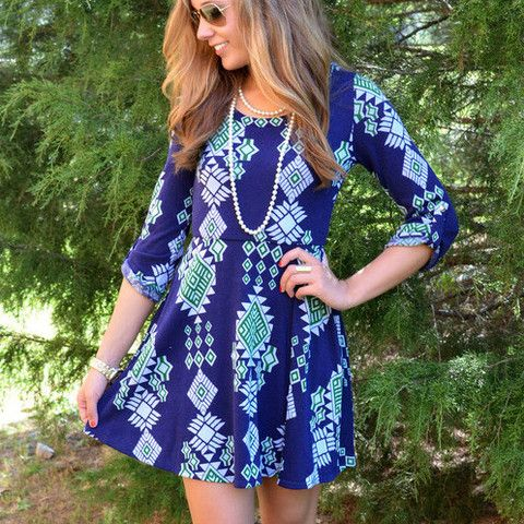 Colors Of The Wind Navy & Green Tribal Dress   Amazing Lace