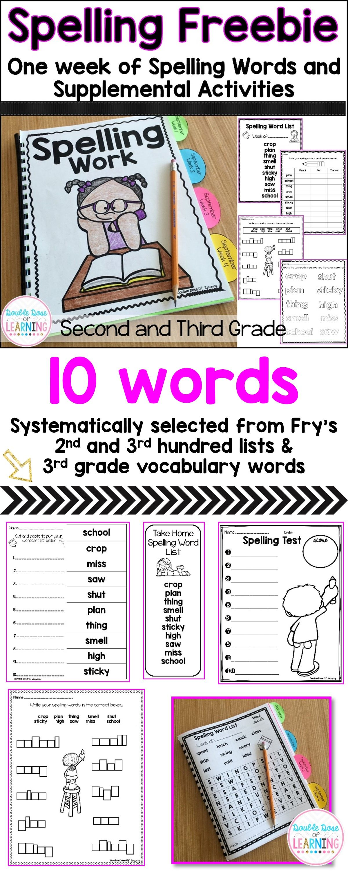 Spelling Freebie Words And Activities For Second And