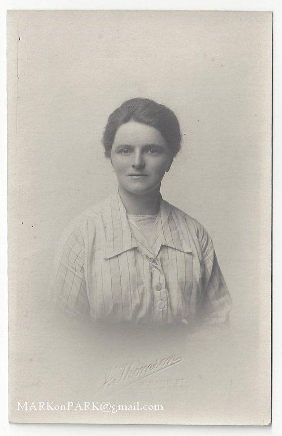 Portrait of a Young Woman Antique Picture Postcard by MARKonPARK