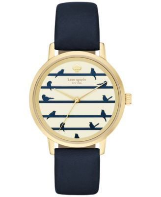 Dark blue, good with jeans, and pretty little birds! kate spade new york Women's Metro Navy Leather Strap Watch 34mm KSW1022    macys.com
