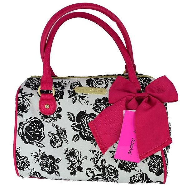 Betsey Johnson Black White Floral Pink Bow Satchel Tote Handbag ($95) ❤ liked on Polyvore featuring bags, handbags, tote bags, pink tote bag, betsey johnson satchel, floral tote, hand bags and purse tote