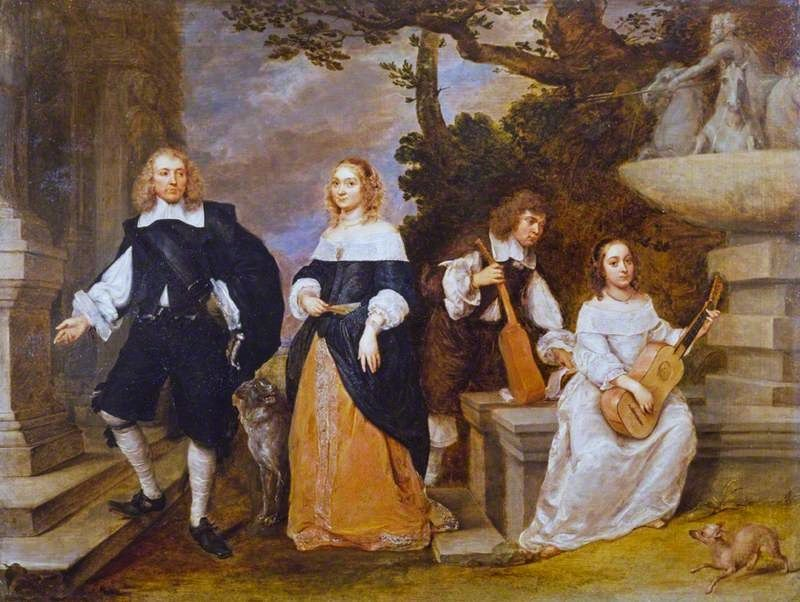 1655-60 Gonzales Coques (Flemish artist, c 1614-1684) Family by a Foun