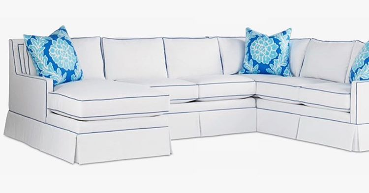 Dana Gibson For The Mt Company White Sectional With Royal Blue Piping Sectional White Sectional Sectional Sofa