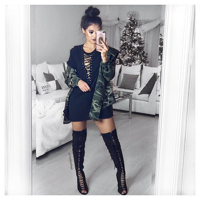 Styling This Jacket And Knee High Boots From Fashionnova Use My Code Xoxomaria For A Discount Fashionnov Knee Socks Outfits Fashion High Knee Boots Outfit