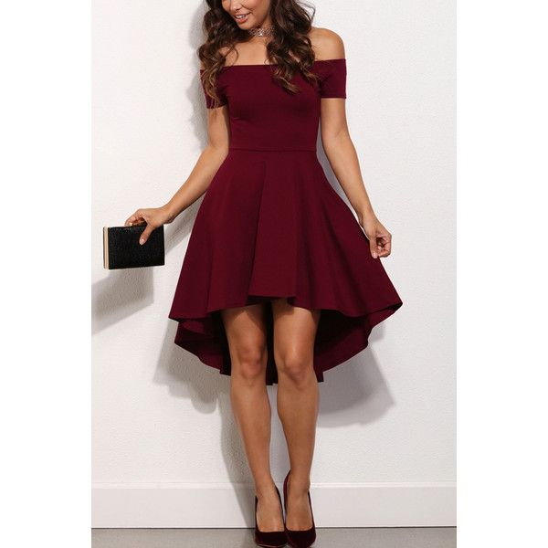 Dark Red Off Shoulder Sexy High Low Party Dress ($21) ❤ liked on Polyvore