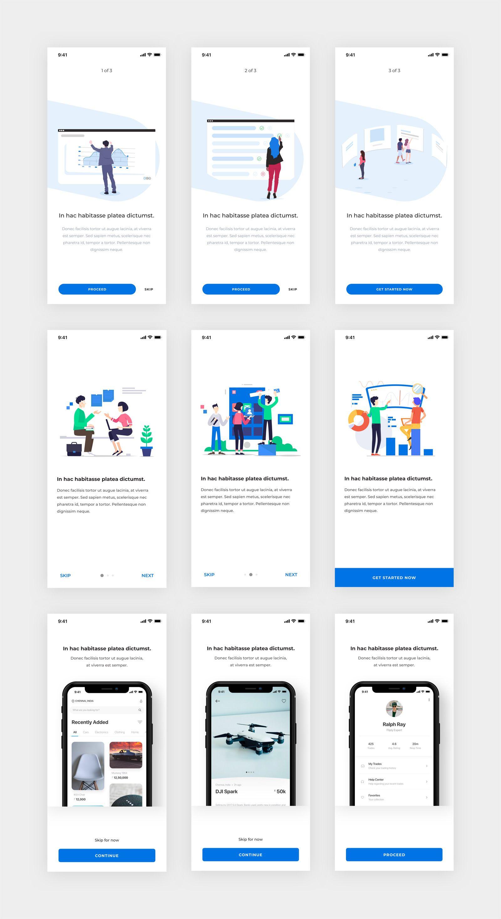 App Onboarding Screens Pack Free Sketch Ios app design