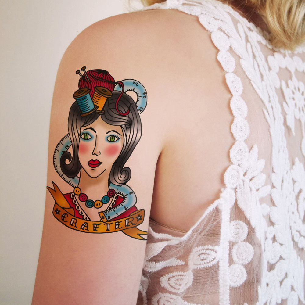 Old school craft girl temporary tattoo design
