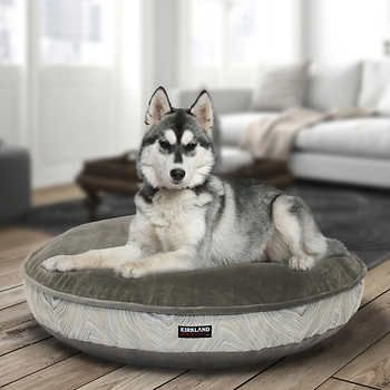Kirkland Signature 42 Round Pet Bed Grey Cream Wave Suede Puppy Sofa Dog Beds For Small Dogs Washable Dog Bed