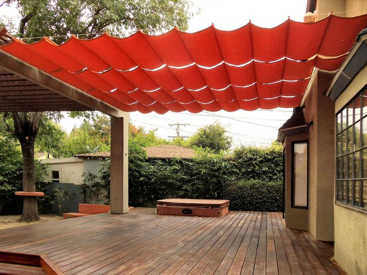 Fabric wire deck patio canopy ideas hazel pinterest for Small patio shade ideas