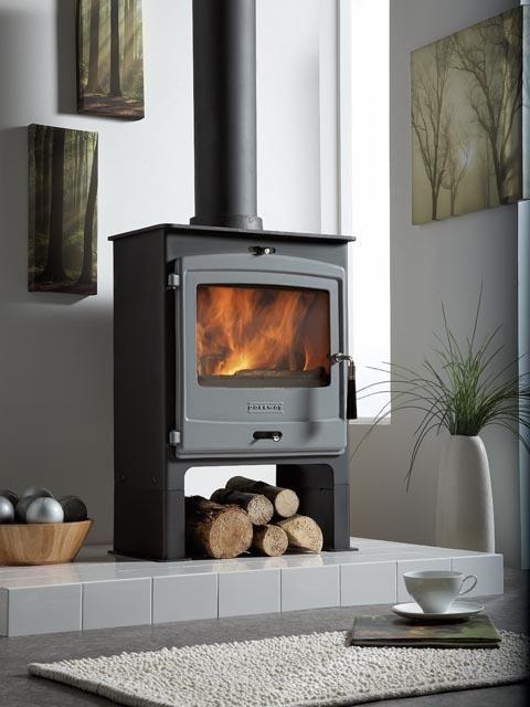 Portway 2 Multi Fuel Stove Arctic Grey Door Low Legs Wood Burning Stove Stove Modern Stoves