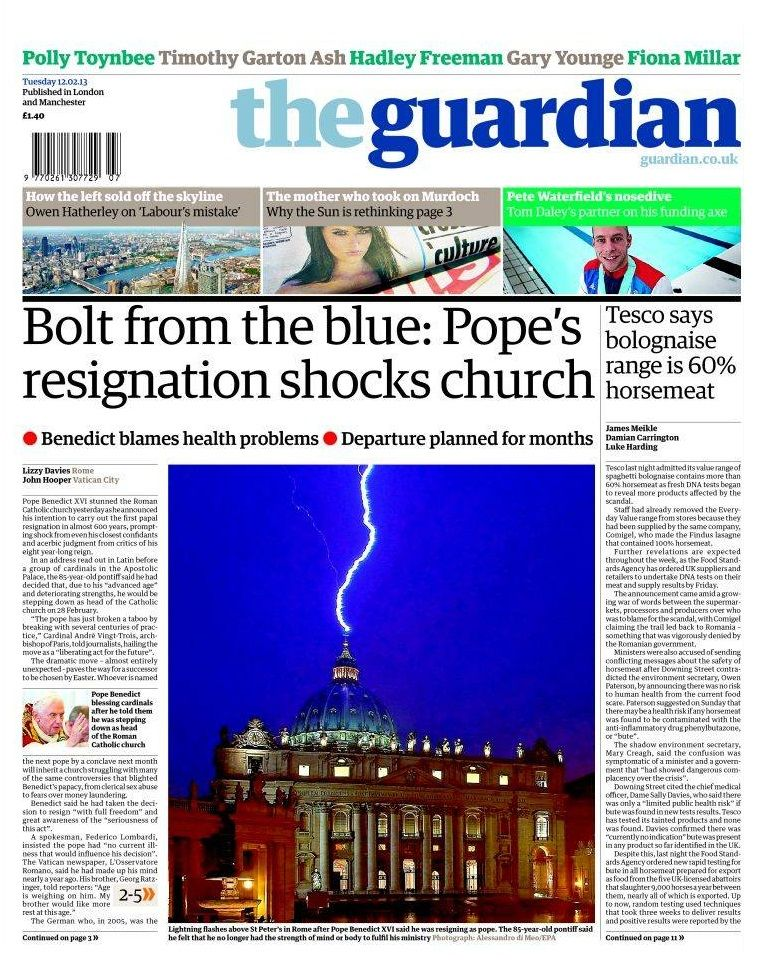 Renuncia del papa Benedicto XVI - 11.02.13 (The Guardian - UK - 12.02.13).