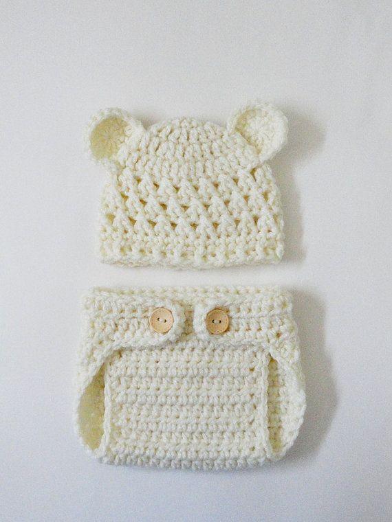 Sombrero del bebé recién nacido oso de peluche y por JCrochetShop ...