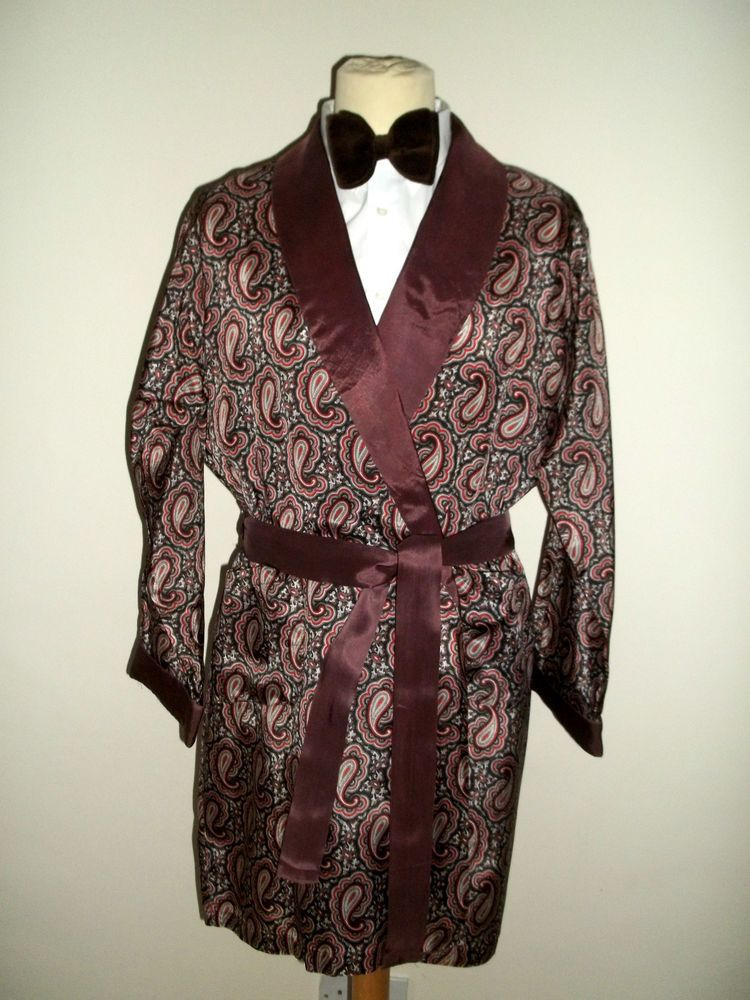 Vtg Mens Tootal 1950s/60s Tricel Paisley Smoking Jacket Dressing Gown Robe M/L £47.05