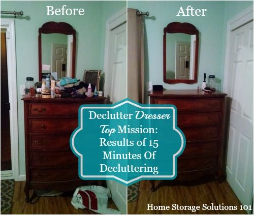How to declutter your dresser top organized spaces hall - Declutter before and after ...
