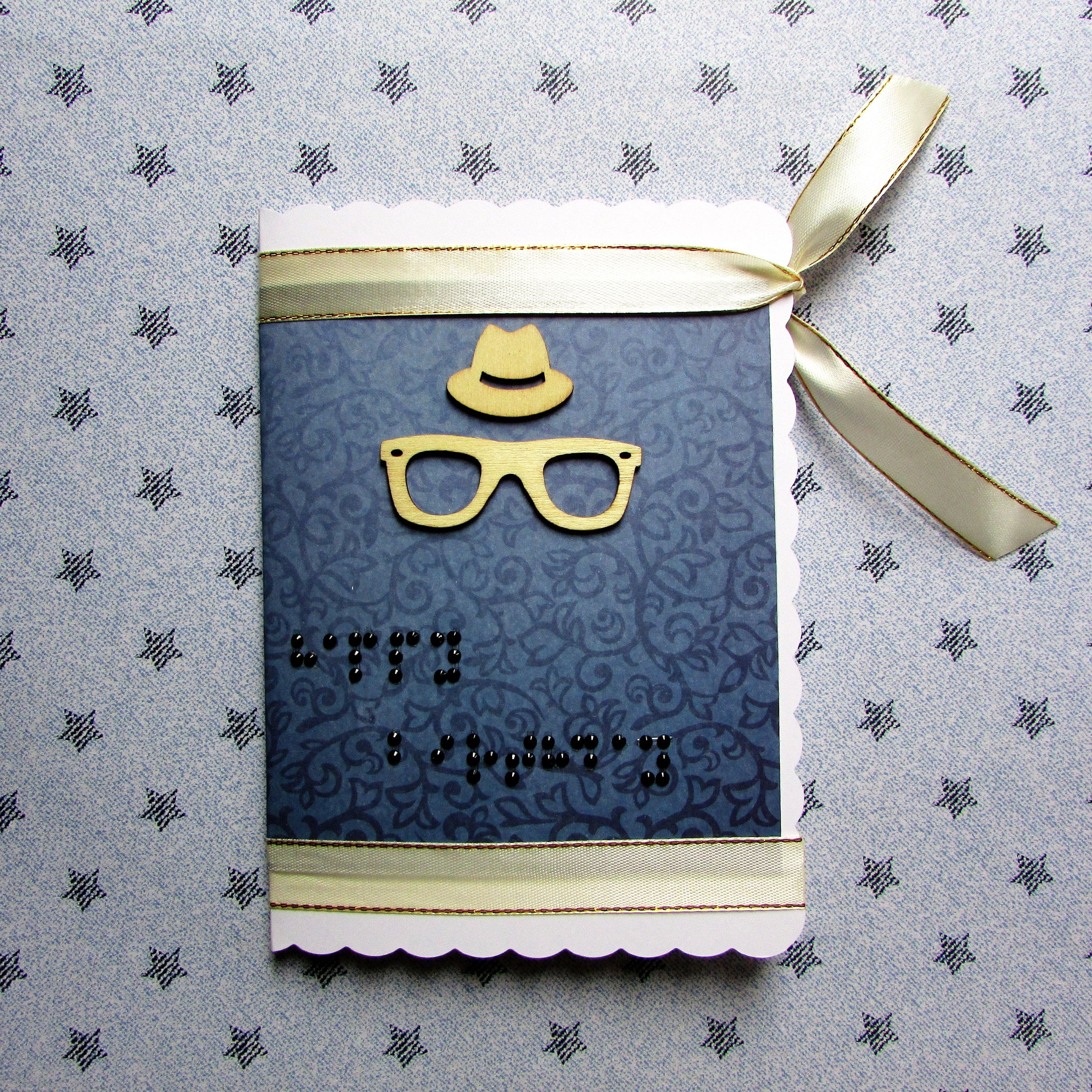 Customize to order braille birthday card for him original