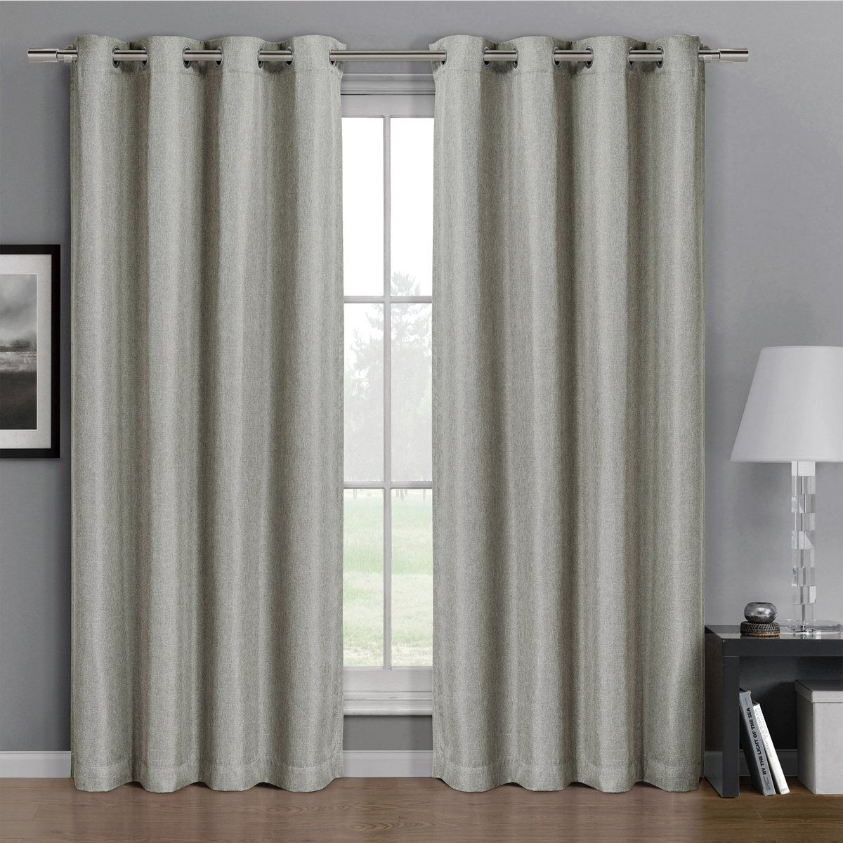 Pair Of Two Top Grommet Gulfport Faux Linen Blackout Weave Thermal