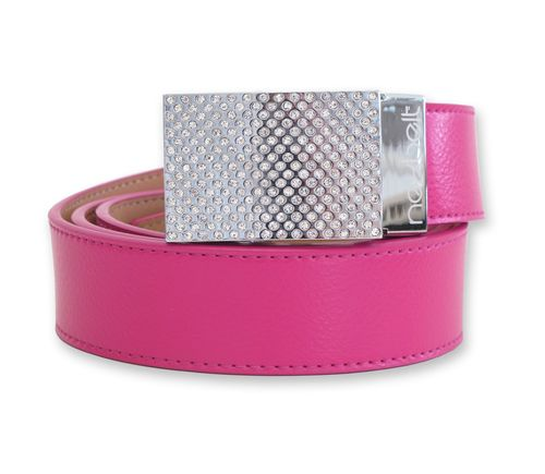 Gem - Power Pink- Pink lightly textured leather strap with a brilliant chrome buckle with hand laid rhinestone gems.  Buckle flips open to reveal a hidden marker. $59.99