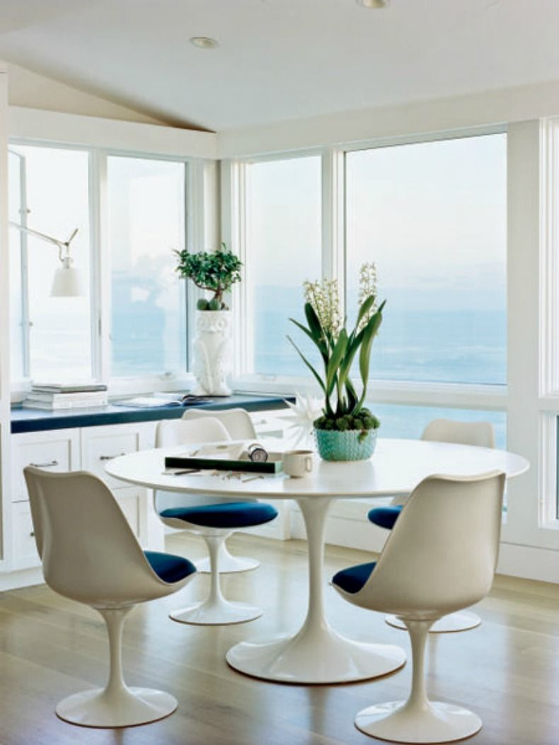 Nautical Dining Room With Farmhouse Table Is So Inviting Via Bh G