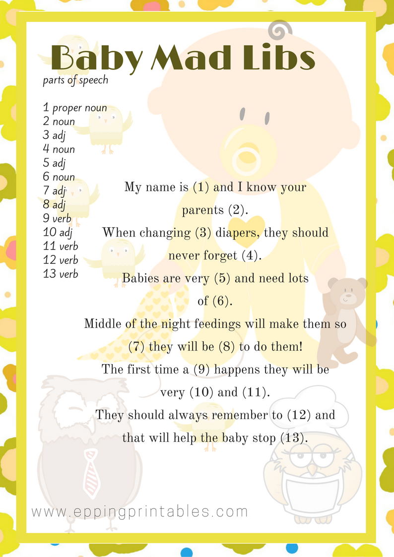 Owl Themed Baby Shower Game Mad Libs