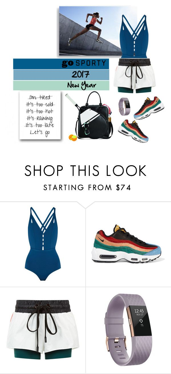 """""""Sporty New Year"""" by curlysuebabydoll ❤ liked on Polyvore featuring Ephemera, NIKE, No Ka'Oi, Fitbit and Goodhope Bags"""