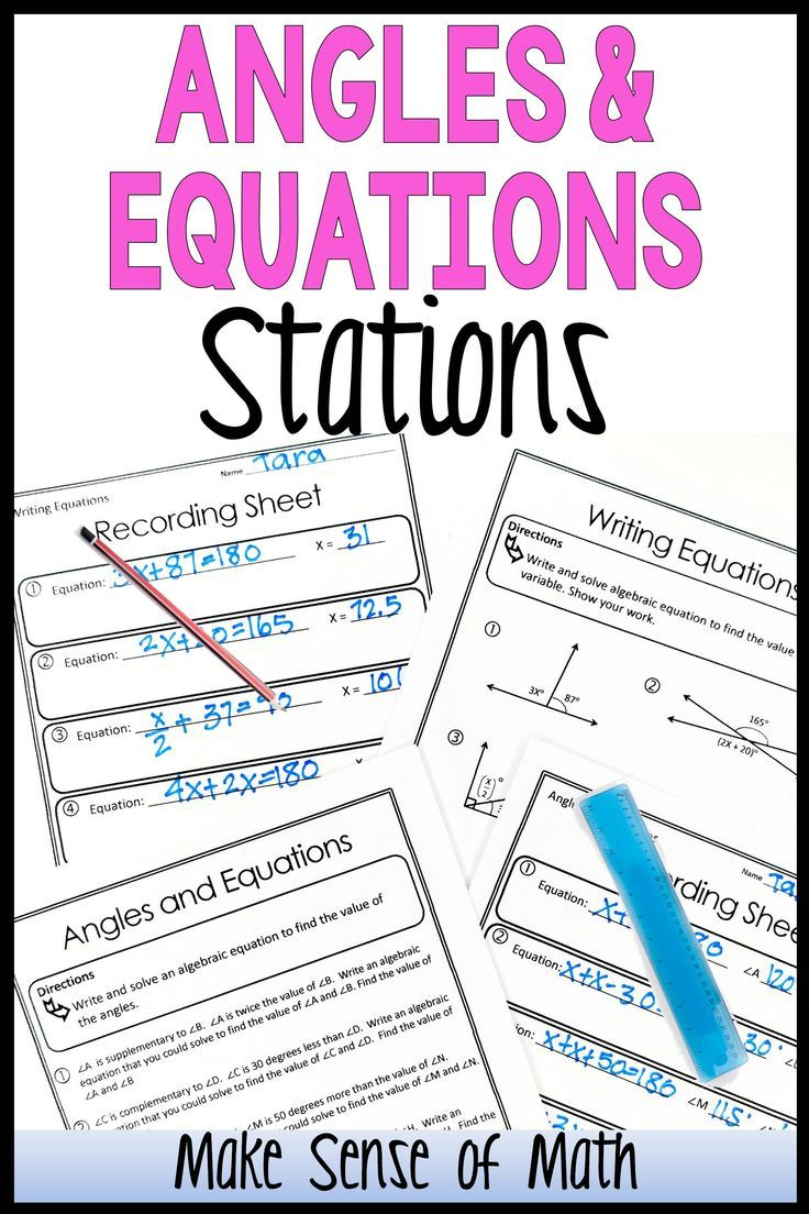 Angles and Equations Stations Middle school geometry