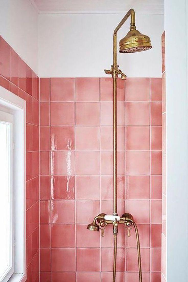 Pink Tile Roze Tegels Kleine Badkamer Decoreren Design Badkamer