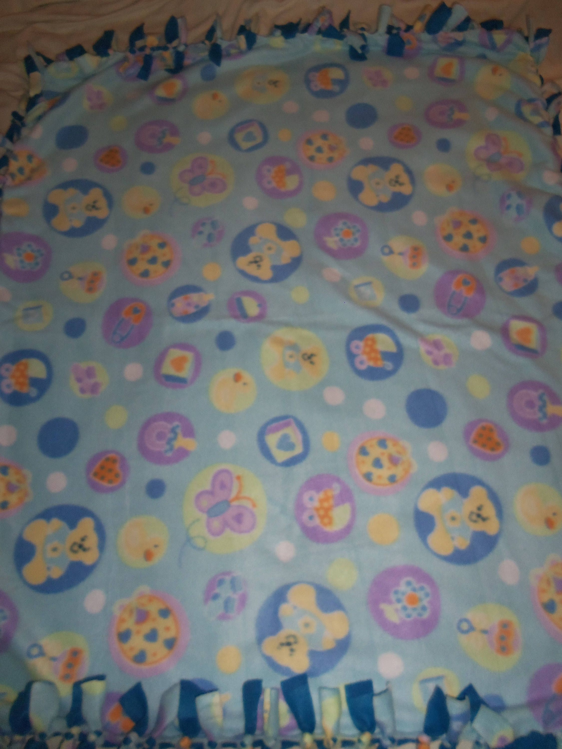 Brand New Whimsical Baby Boy Teddy Bear Pacifier Diaper Pin  Double Sided Hand Tied Fleece Rag Blanket Throw ~ Baby Gift
