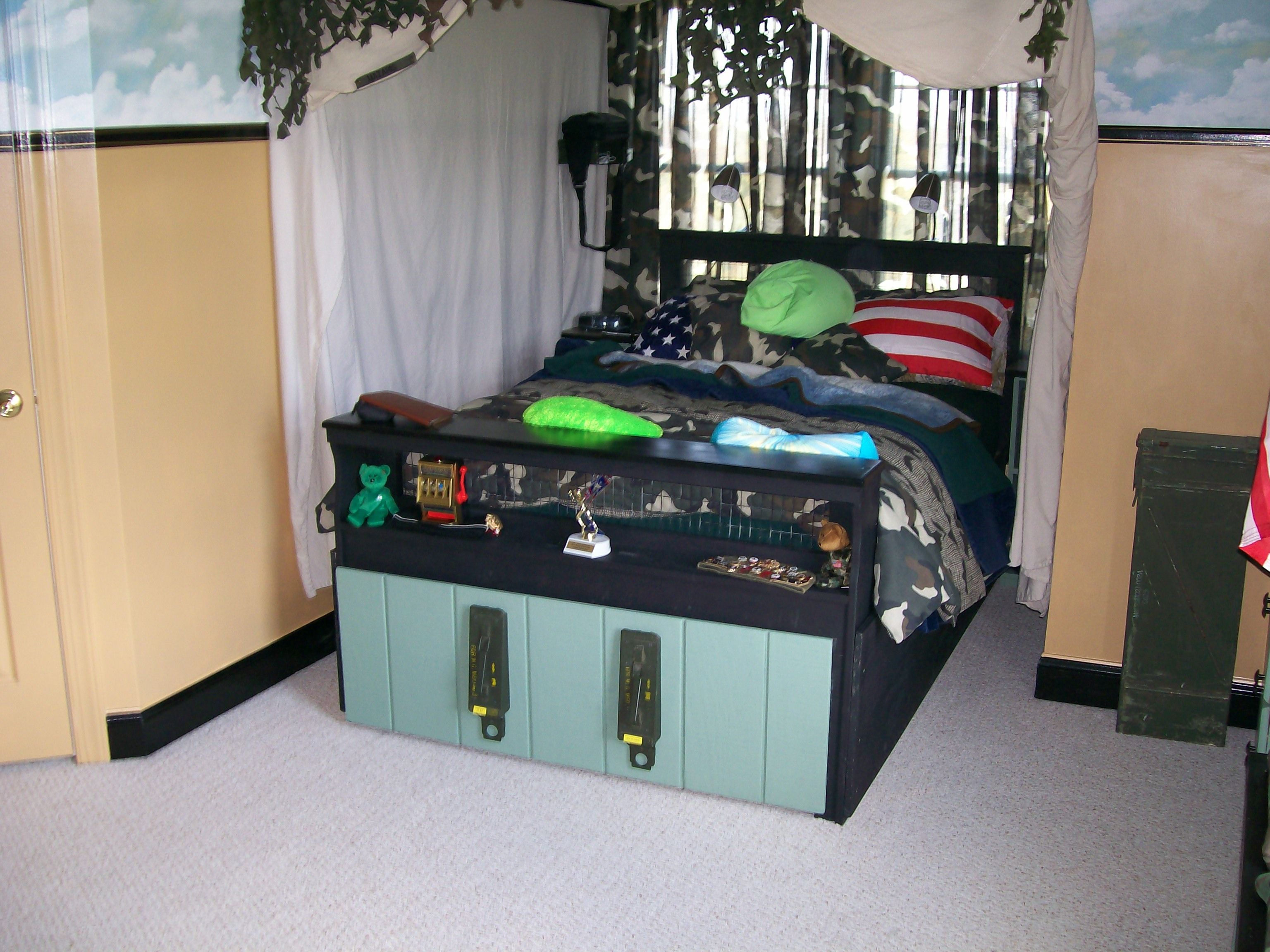Boat Bed With Trundle And Toy Box Storage: Army Trundle Bed...We Took The Existing Headboard And