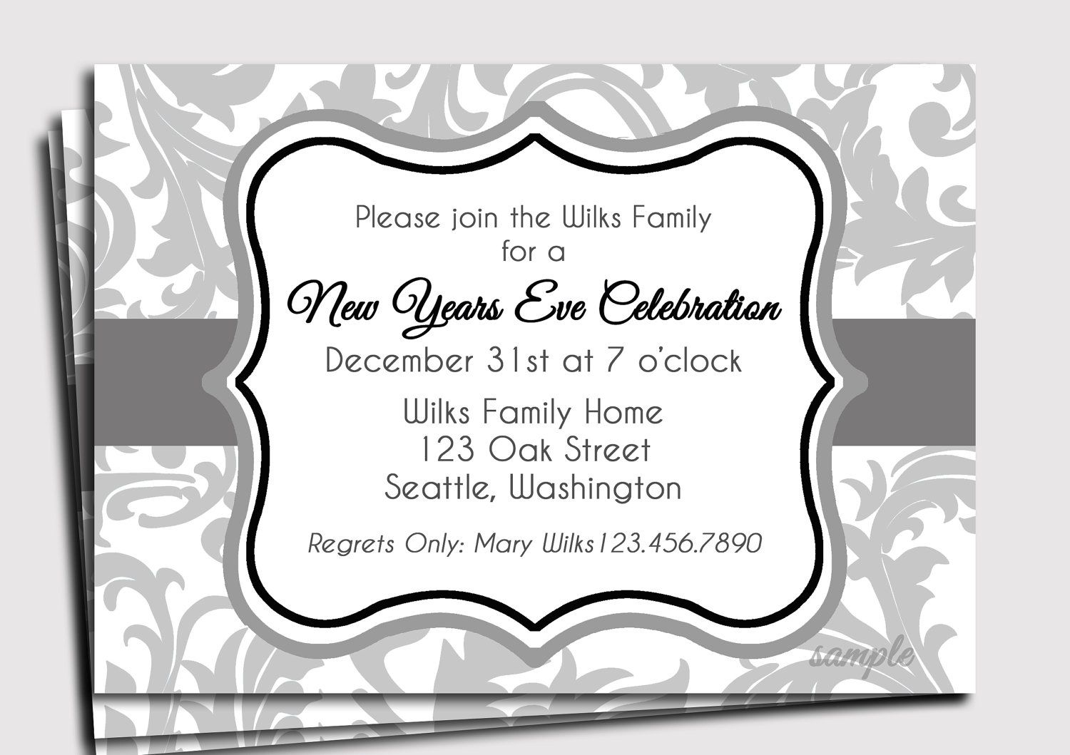 New Year's Eve Invitation Printable Modern by