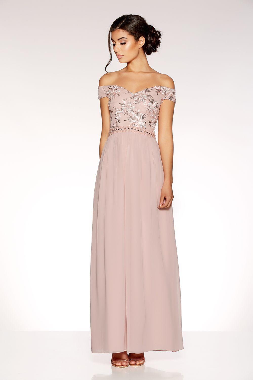 Dusty Pink Bardot Embroidered Maxi Dress Maxi Dress Prom Embroidered Maxi Dress Dusty Pink Bridesmaid Dresses