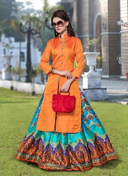 LadyIndia Long Kurtas With Skirts Designer Orange Color