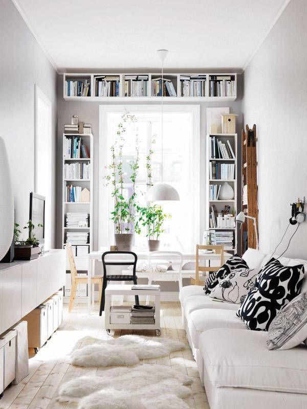 Smalle woonkamer inrichten | Woonkamer inspiratie | Pinterest | Book ...