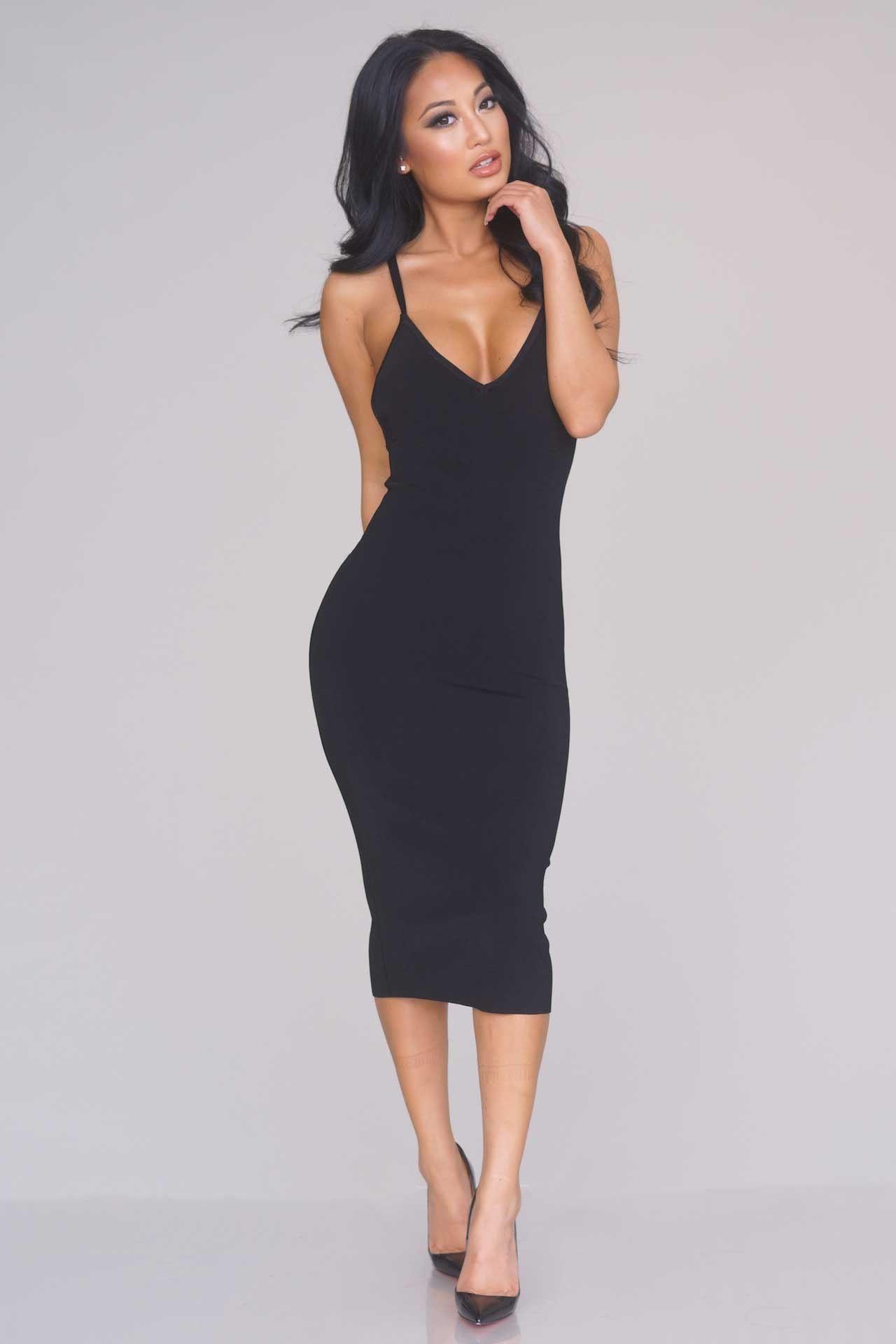 Double Strap Knit Midi Dress Black Fashion Dresses Beautiful Dresses [ 1920 x 1280 Pixel ]