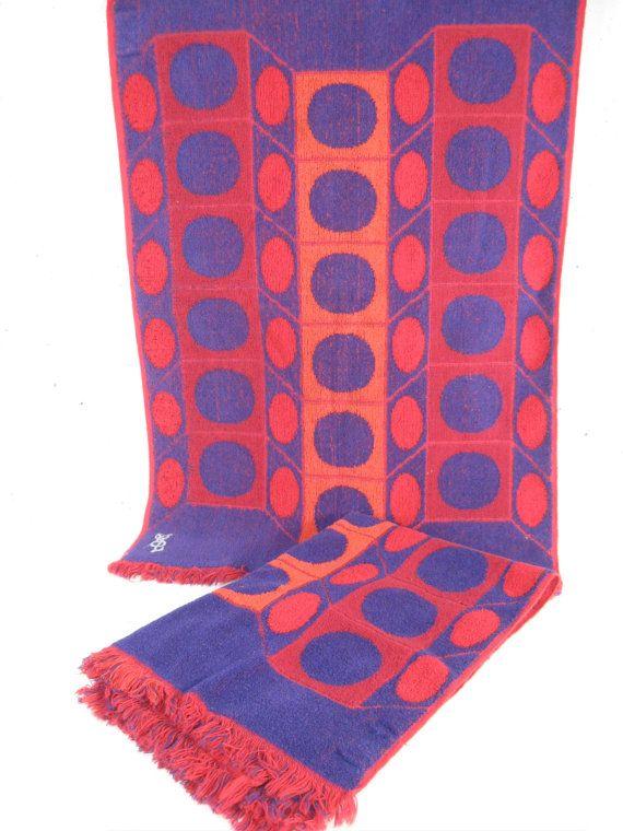 Vintage YSL hand towels purple orange red mod circle by StephieD, $30.00