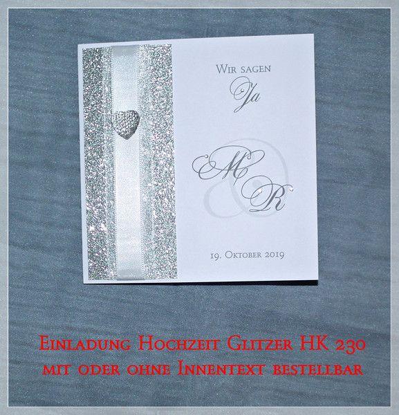 Einladung Hochzeit Quadratisch Glitzer Weiß HK 230