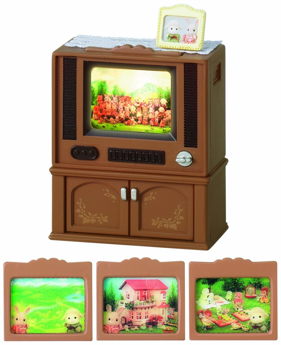 Sylvanian Families Deluxe TV Set Lightup TV Screen In Cabinet   Glasgow,  United Kingdom