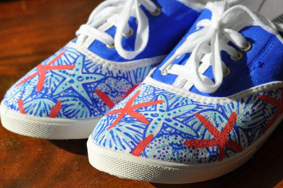 lilly pulitzer inspired painted canvas shoes by