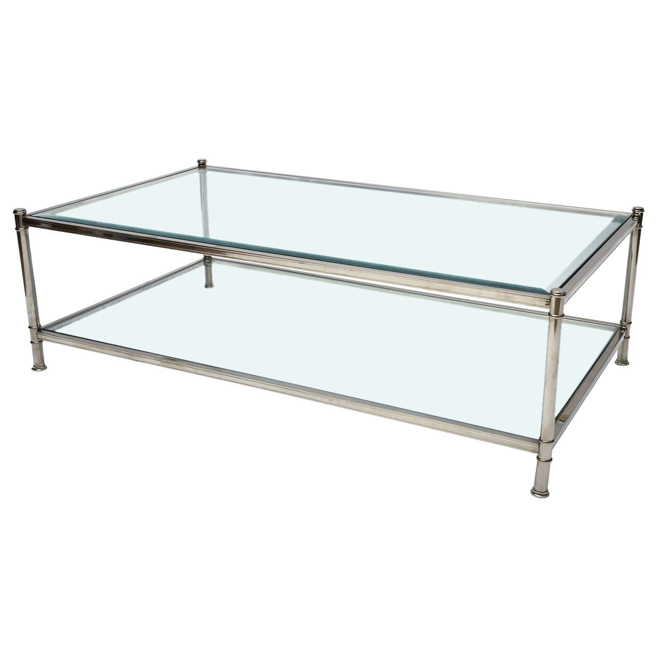 chrome and glass two tier coffee table